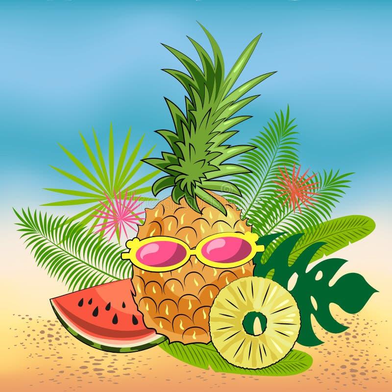 Helles Sommerstillleben von Früchten auf dem Strand: Ananas, Scheiben der saftigen Wassermelone, Ananasscheiben, Gläser stock abbildung