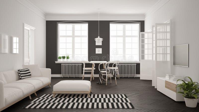 Helles unbedeutendes Wohnzimmer mit Sofa und Speisetische, scandi lizenzfreie abbildung