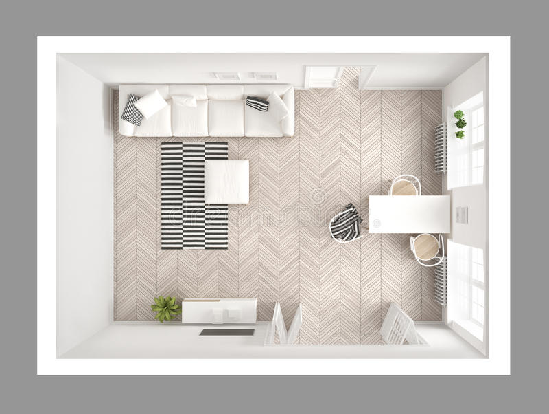 Helles unbedeutendes Wohnzimmer mit Sofa und Speisetische, scandi stock abbildung