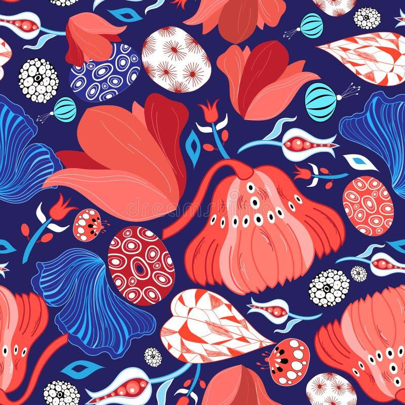 Helles windiges schönes Muster von roten Blumen stock abbildung