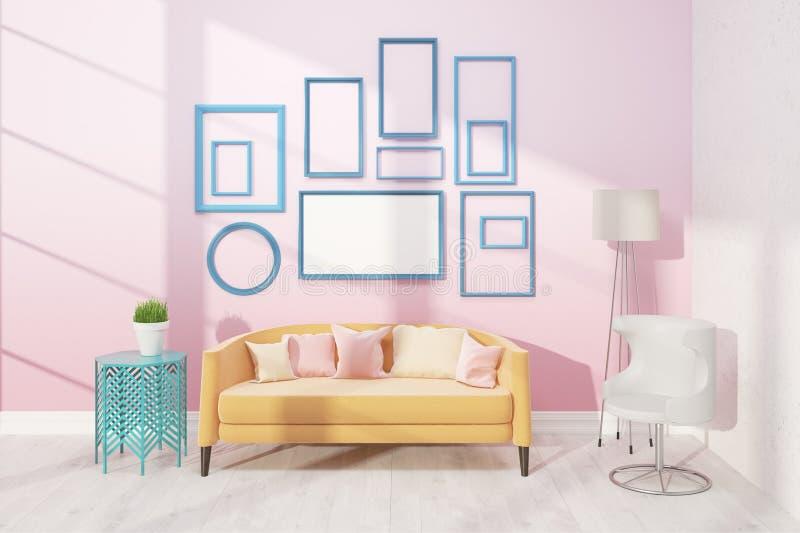 Helles Wohnzimmer mit Sofa lizenzfreie abbildung