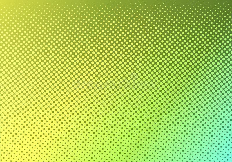Hellgrün mit gelbem punktiertem Halbton Faded punktierte Steigung Abstrakte vibrierende Farbbeschaffenheit Moderne Pop-Arten-Desi vektor abbildung