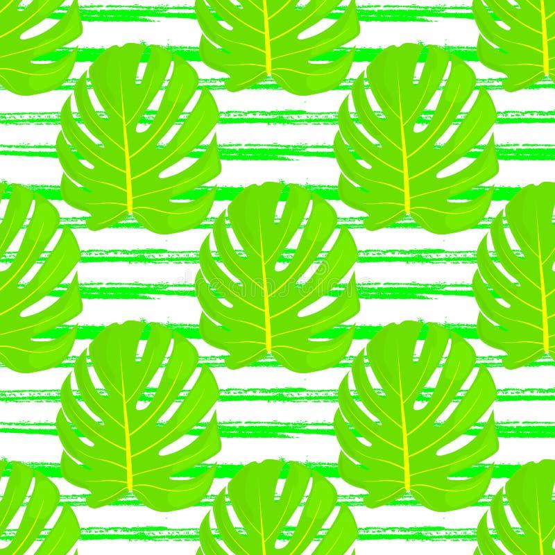 Hellgrüne Blätter von Monstern auf dem Hintergrund von Handgezogenen Linien Nahtloses mit Blumenmuster Tendenzdesign Vektor stock abbildung
