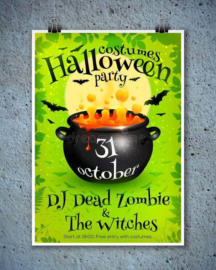 Hellgrüne Halloween-Parteiplakatschablone mit vektor abbildung