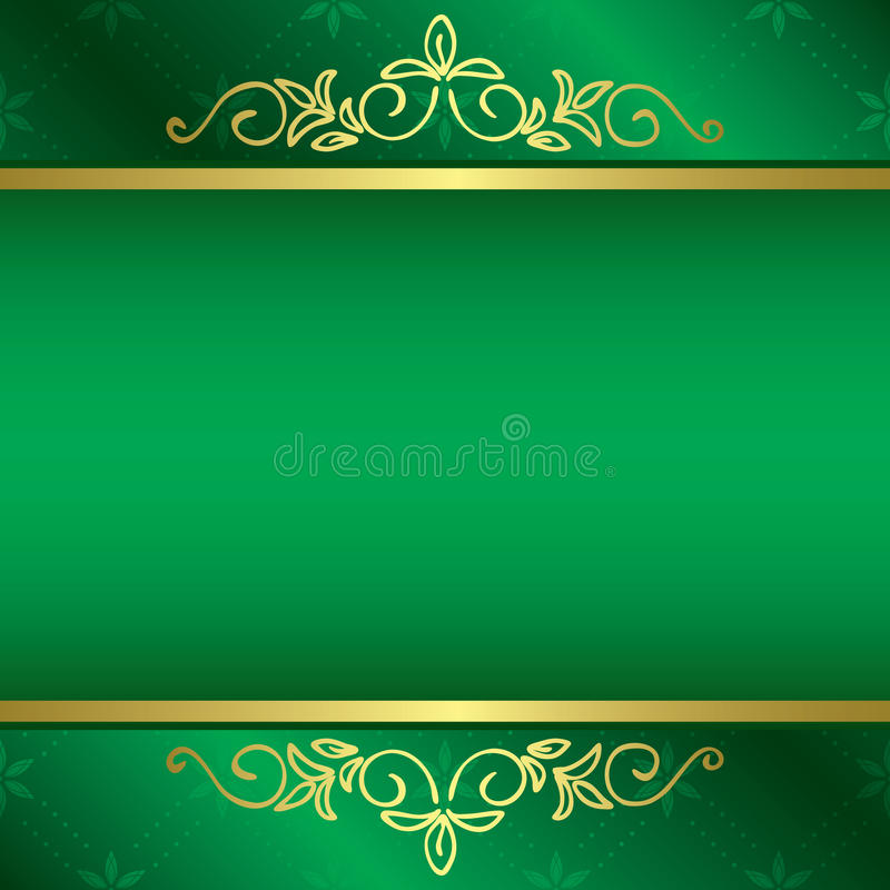 Hellgrüne Karte mit Blumengolddekorationen lizenzfreie abbildung