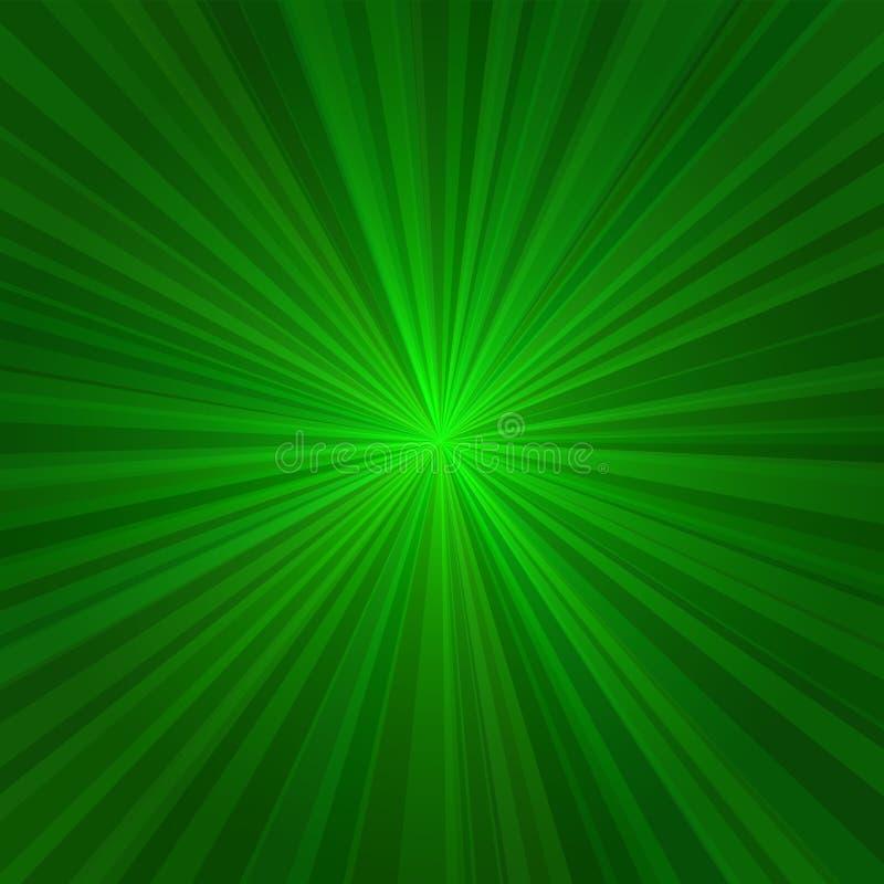 Hellgrüne Strahln-abstrakter Hintergrund. Vektor lizenzfreie abbildung