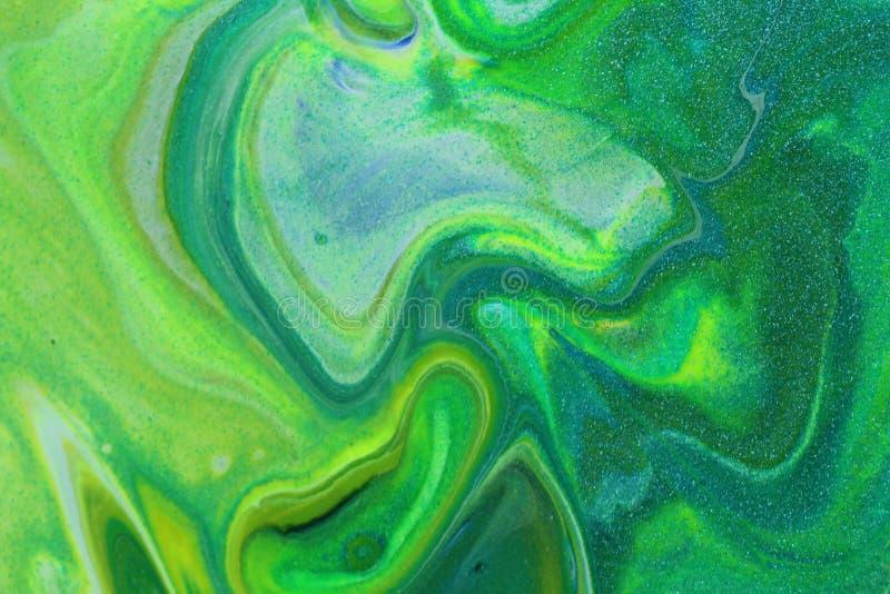 Hellgrüne und gelbe abstrakte Neonmalerei für Hintergründe lizenzfreie stockbilder