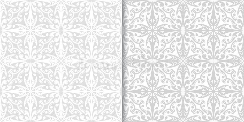 Hellgraue Blumenverzierungen Set nahtlose Muster stock abbildung
