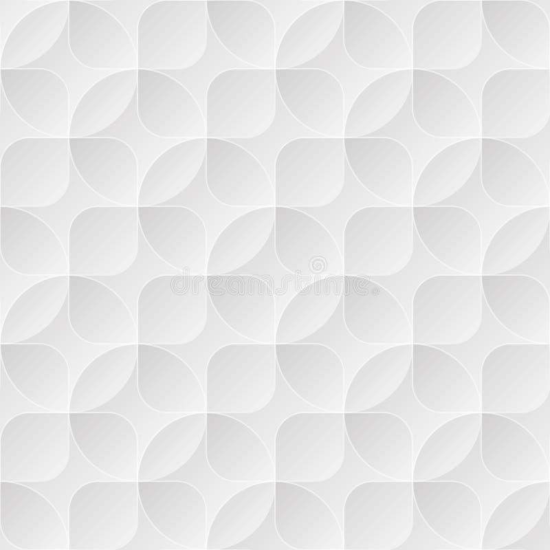 Hellgrauer nahtloser Vektorhintergrund mit Kreisen und Quadraten lizenzfreie abbildung