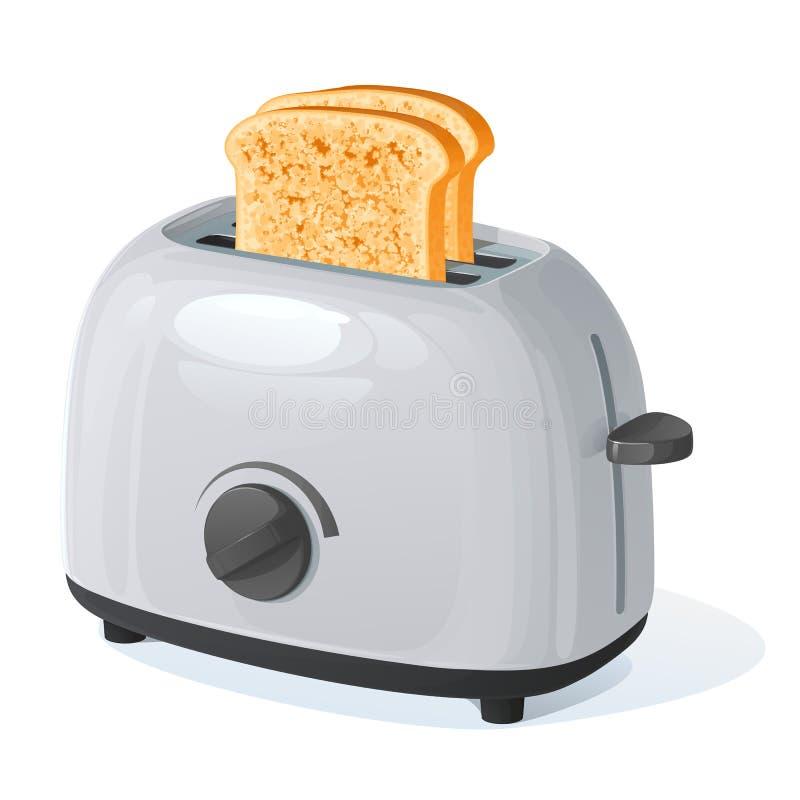 Hellgrauer Toaster mit zwei briet die Stücke des weißen Laibs vorbereitet zum ein Frühstück lizenzfreie abbildung