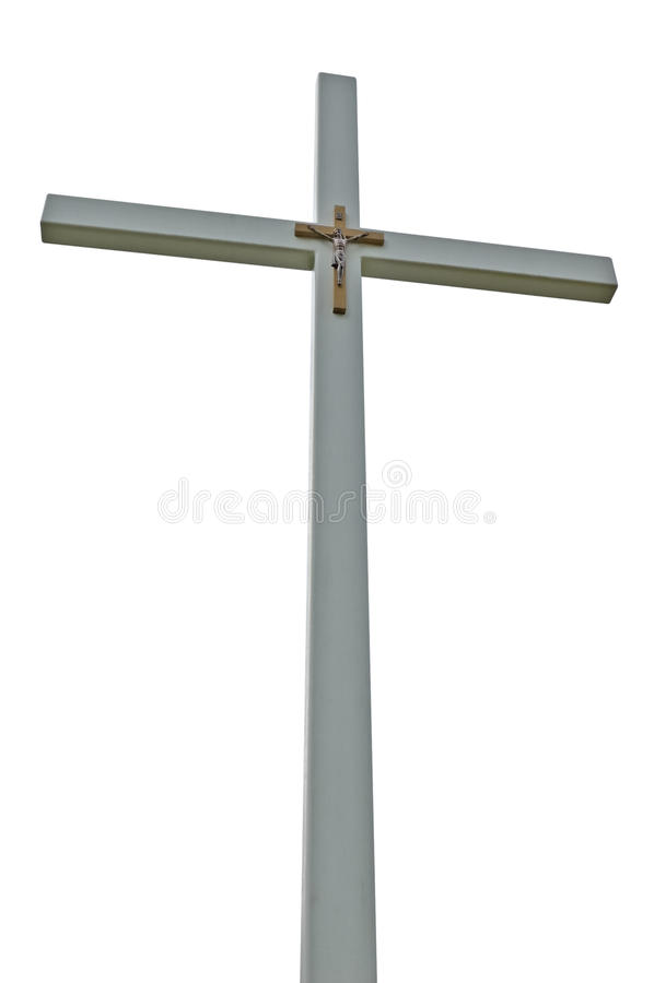Hellgraues getrenntes katholisches Kreuz des Kruzifixs lizenzfreie stockfotografie