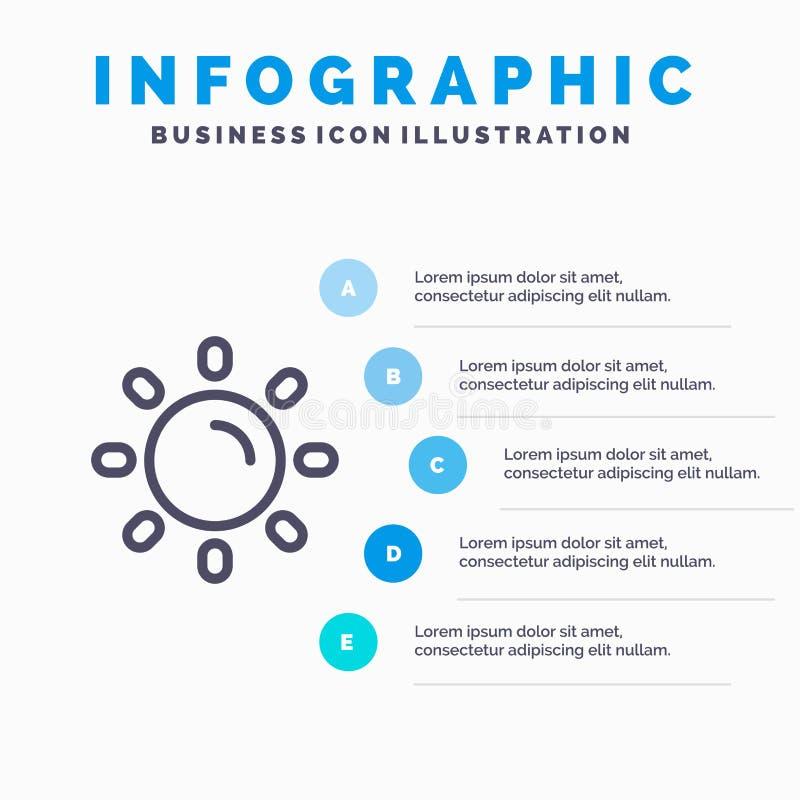 Helligkeit, Licht, Sun, Glanz-Linie Ikone mit Hintergrund infographics Darstellung mit 5 Schritten stock abbildung