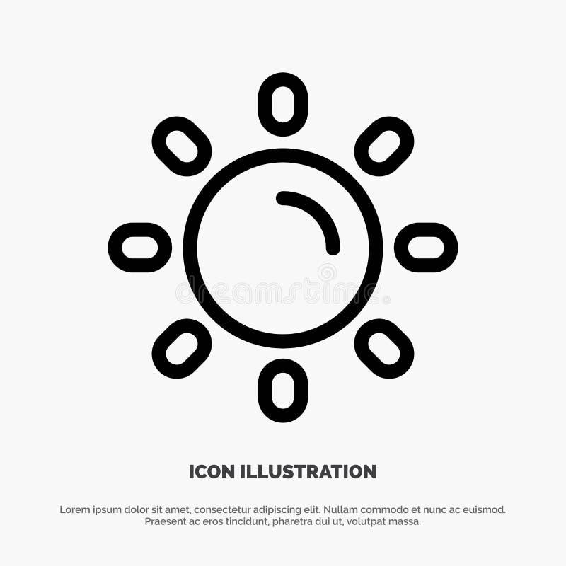 Helligkeit, Licht, Sun, Glanz-Linie Ikonen-Vektor stock abbildung