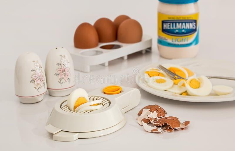 Hellmanks Glass Jar Beside White Egg Rack stock photo
