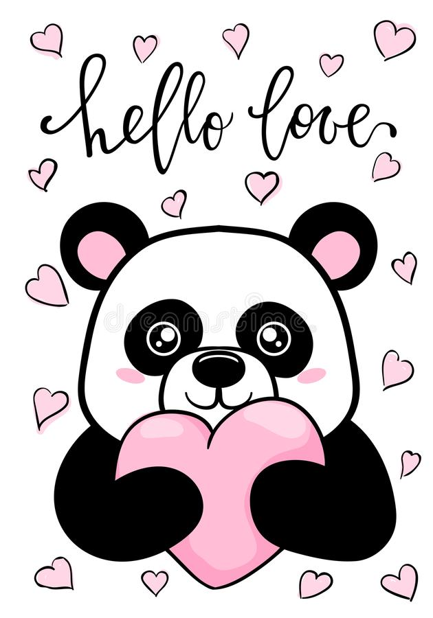 Hello älskar Räcka utdragen idérik kalligrafi och borsta pennbokstäver Den gulliga pandan rymmer stor hjärta Design för feriehäls vektor illustrationer