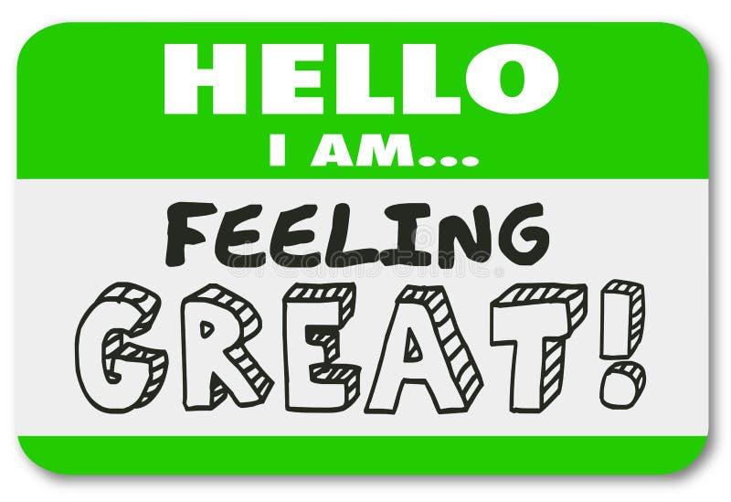 Hello är jag bra sinnesrörelse Illustrat för känslig stor känd etikettsklistermärke stock illustrationer