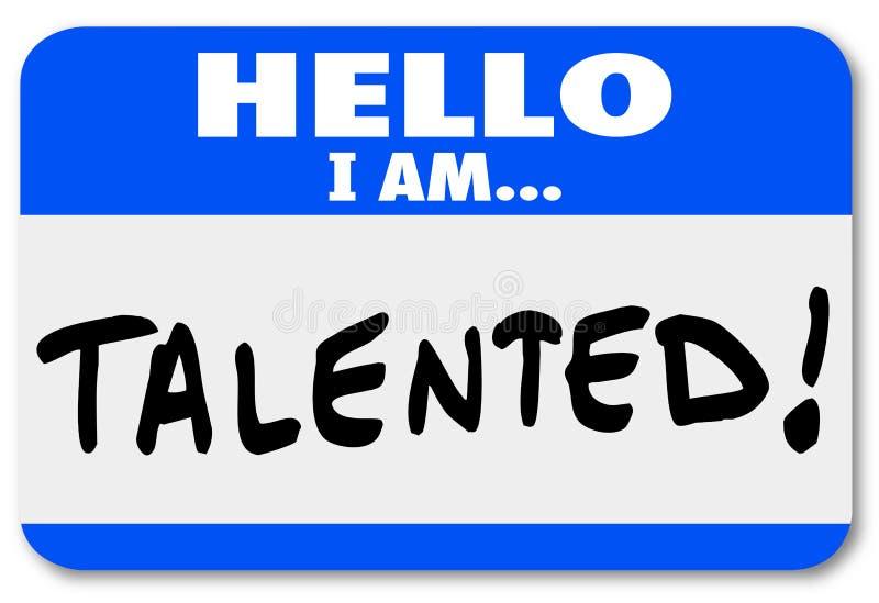 Hello är jag den begåvade kända etiketten Job Fair Introduction Networking stock illustrationer