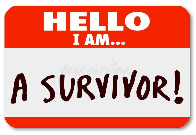 Hello är jag en överlevandeNametag som fortlever sjukdomihärdighet vektor illustrationer