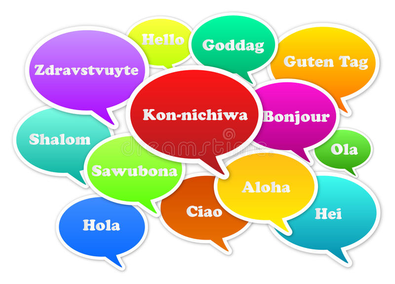 Hello. Illustration Of Hello Bubbles In 13 Languages