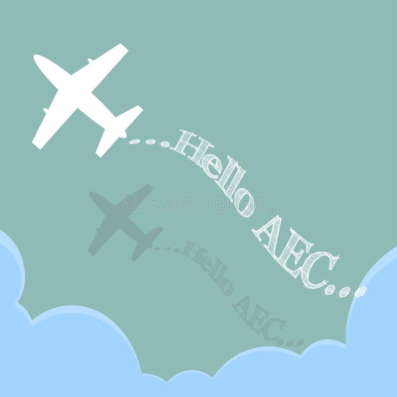 Hello-AEC door Vliegtuig over de wolk, illustratievector in vlak ontwerp vector illustratie