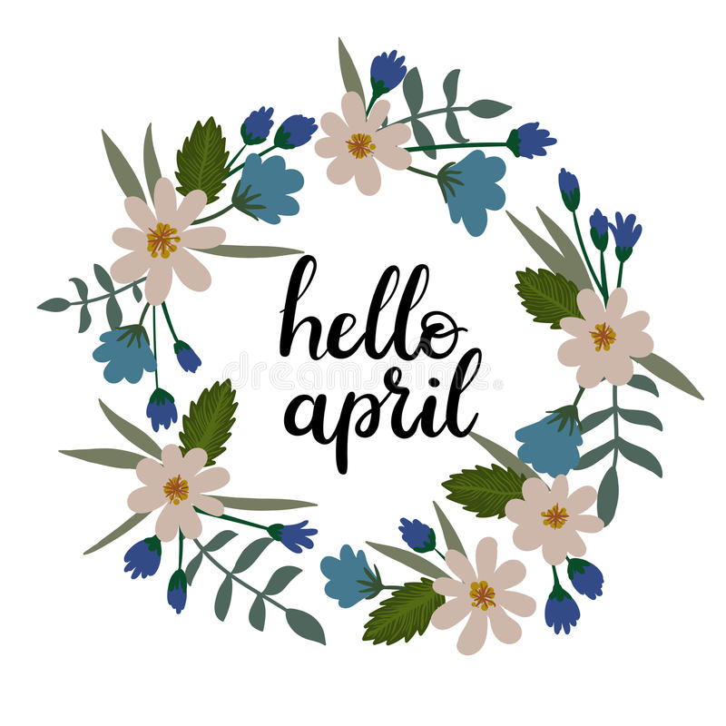 Hello april hand lettering greeting card handwritten text