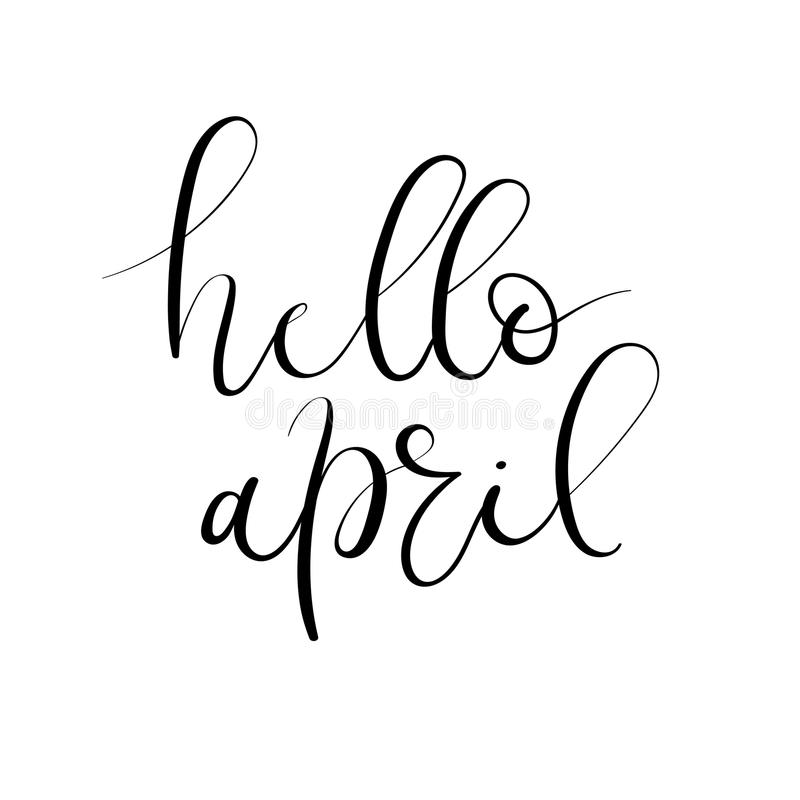 Hello april hand lettering inscription greeting card with