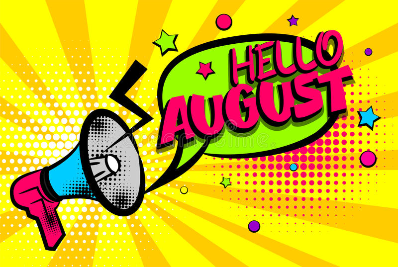 Download Hello August Comic Text Pop Art Colored Bubble Stock Vector    Illustration Of Label,