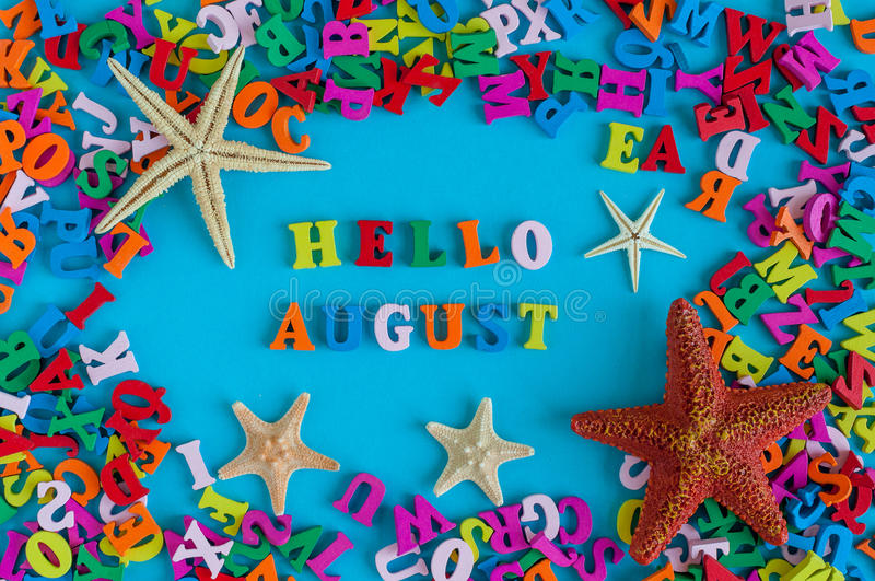 Download Hello August   Inscription At Blue Summer Background. Summer  Month, Beach And Sea