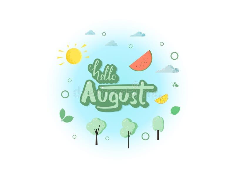 Hello august inskrift med handskriven bokstäver också vektor för coreldrawillustration stock illustrationer