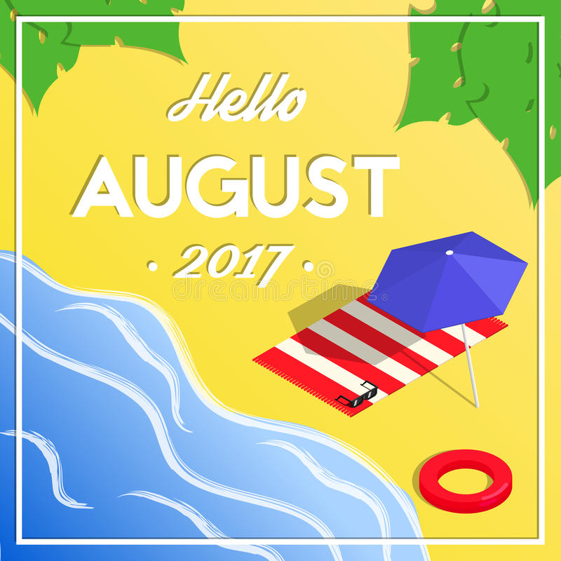 Download Hello August Summer Isometric Vacation Banner Stock Vector    Illustration Of Holiday, Banner: