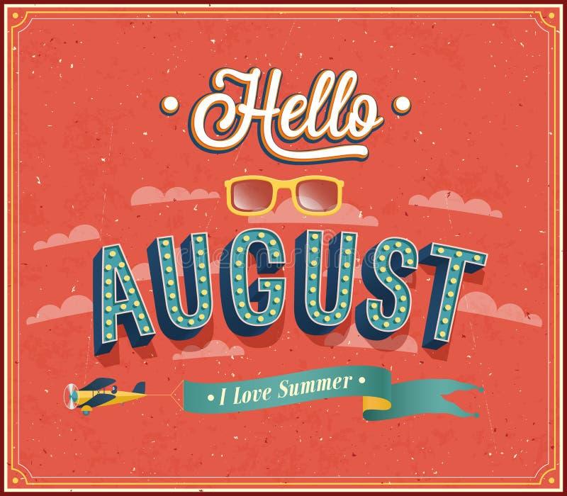 Hello august typografisk design. stock illustrationer