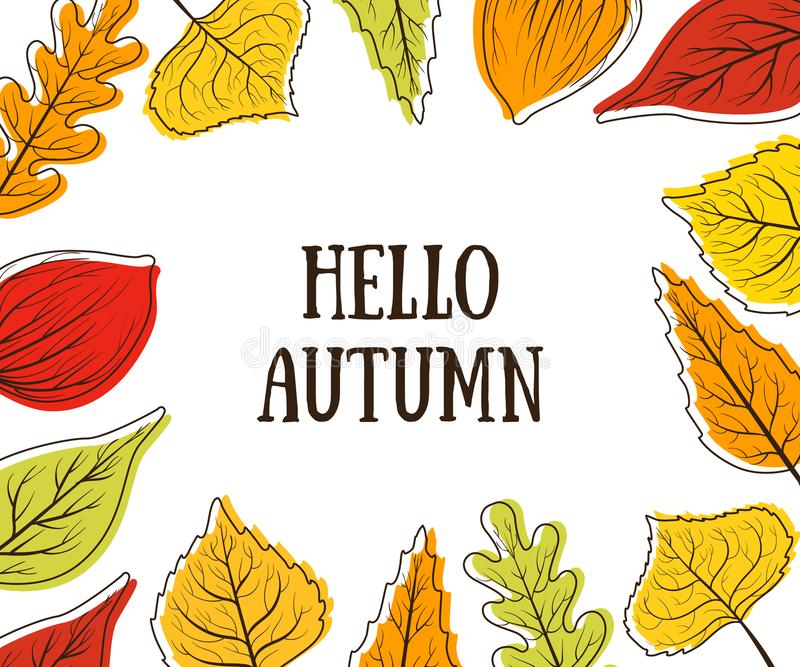 Hello Autumn Banner Template with Bright Colorful Leaves, Card Can Be Used for Invitation, Special Offer, Poster royalty free stock images