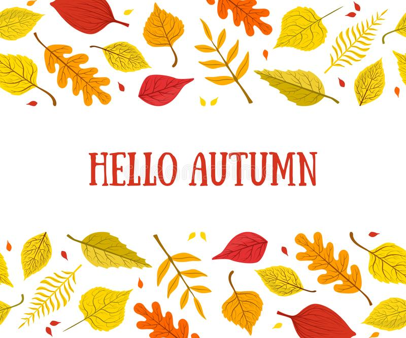 Hello Autumn Banner Template with Bright Colorful Leaves, Card Can Be Used for Invitation, Special Offer, Poster royalty free stock photography