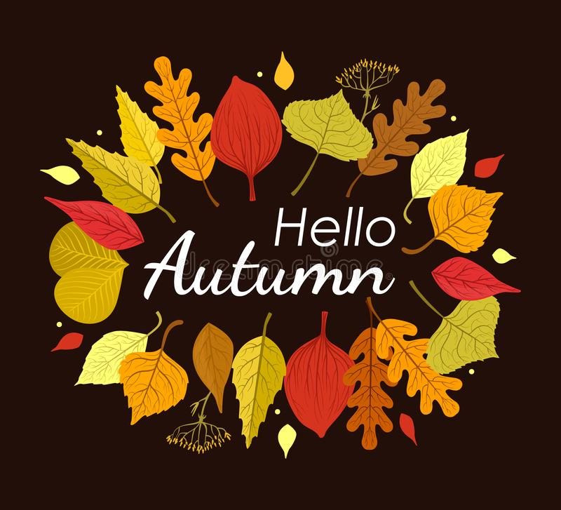 Hello Autumn Banner Template with Colorful Leaves on Black Background, Card Can Be Used for Invitation, Special Offer stock image