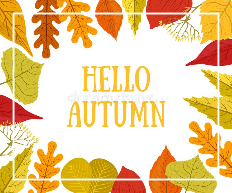 Hello Autumn Banner Template with Colorful Leaves, Card Can Be Used for Invitation, Special Offer, Poster, Leaflet stock image