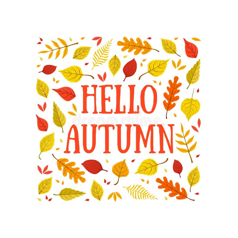 Hello Autumn Banner Template with Colorful Leaves of Square Shape, Card Can Be Used for Invitation, Special Offer royalty free illustration