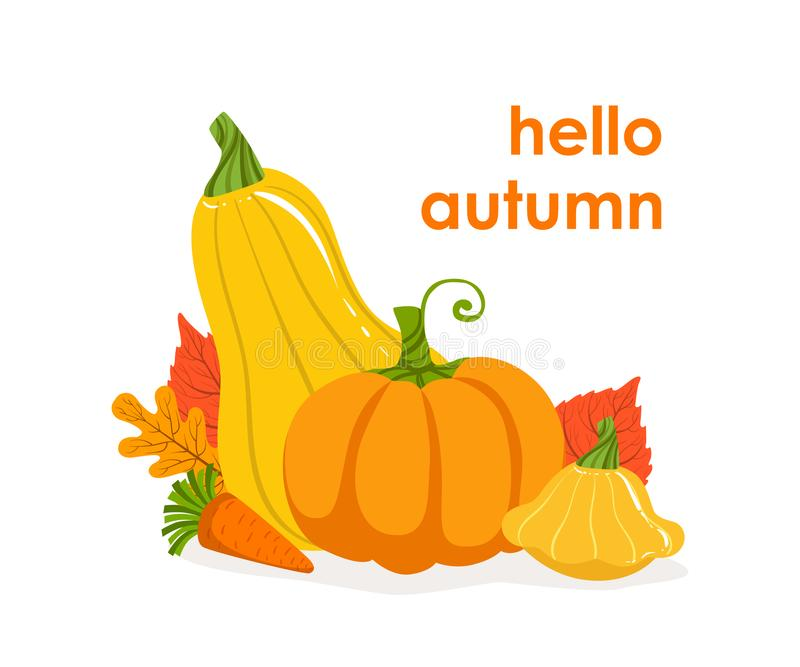 Hello Autumn Banner Template, Seasonal Poster with Bright Leaves and Pumpkins Vector Illustration stock images