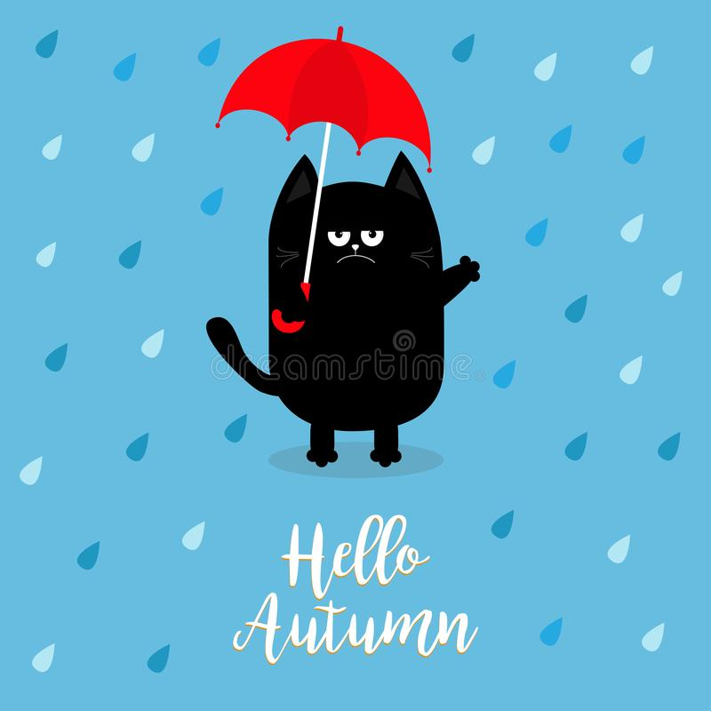 Hello autumn. Black cat holding red umbrella. Rain drops. Angry sad emotion. Hate fall. Cute funny cartoon baby character. Pet ani. Mal collection. Blue royalty free illustration