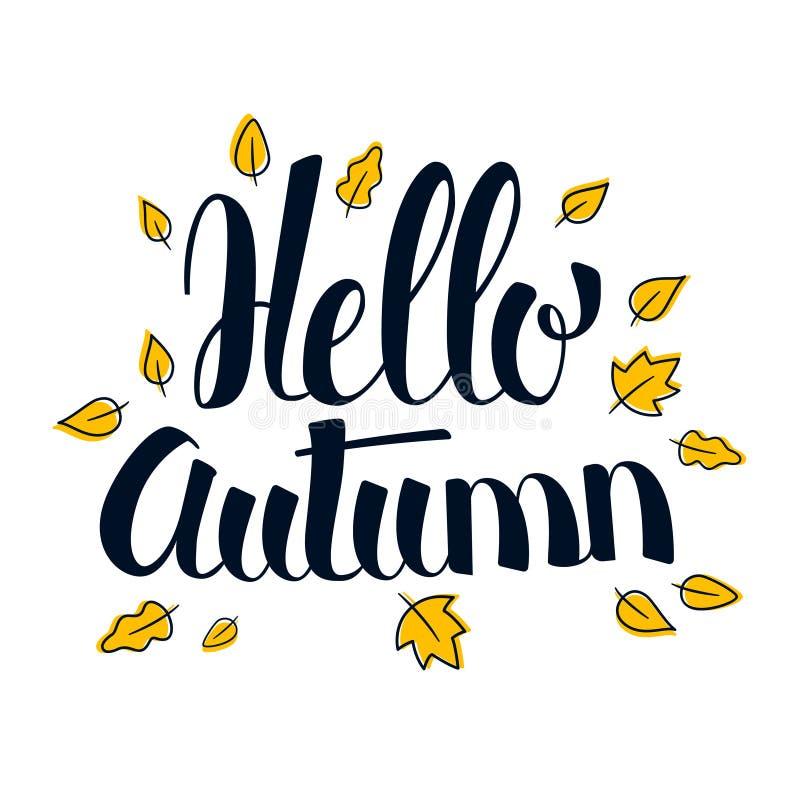 Hello Autumn, Calligraphy season banner design, illustration. Hello Autumn, Calligraphy season banner design, vector illustration vector illustration
