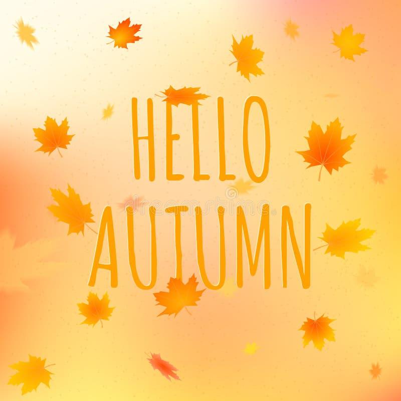 Hello autumn card, vector illustration with text stock illustration