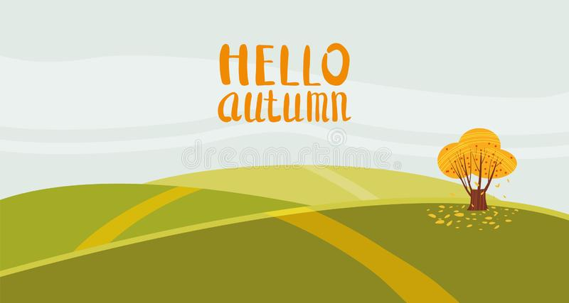 Hello autumn color illustration. On rural hills postcard design. Open air outdoor walk. Early fall landscape cartoon royalty free illustration