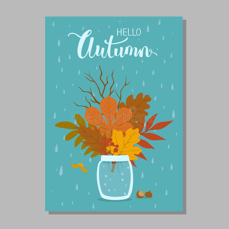 Hello autumn fall background with park leaves arrangement in jar and blue rain drops backdrop. Hello autumn fall background with park leaves arrangement in jar vector illustration