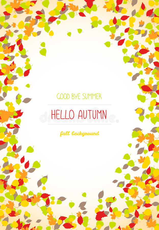 Hello autumn. Falling leaves. Copy space for text. royalty free illustration