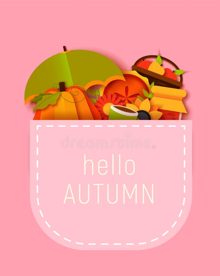 Hello autumn greeting card template. Fall illustration with paper cut leaves, pumpkin, pie, umbrella. jam, cup. royalty free illustration