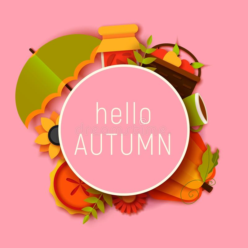 Hello autumn greeting card template. Fall illustration with paper cut leaves, pumpkin, pie, umbrella. jam, cup. stock illustration