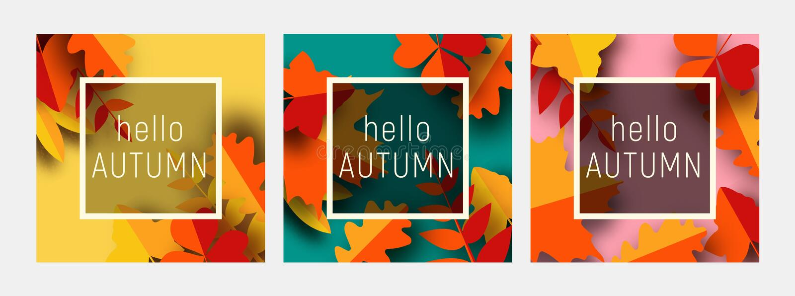 Hello autumn greeting card template set. Fall illustration with paper cut orange, red and yellow leaves. royalty free illustration