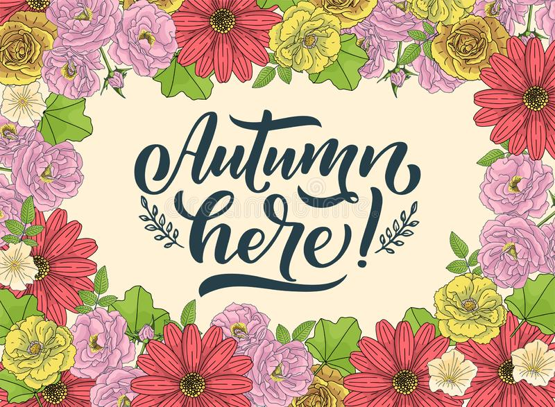 Hello autumn. Hand drawn calligraphy and brush pen lettering. design for holiday greeting card and invitation of seasonal autumn. Holiday. Vector stock illustration