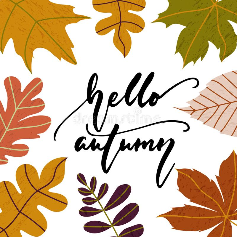 Hello Autumn - hand drawn cozy Fall seasons holiday lettering phrase and leaves doodles isolated on the white background. Fun brush ink vector illustration for stock illustration