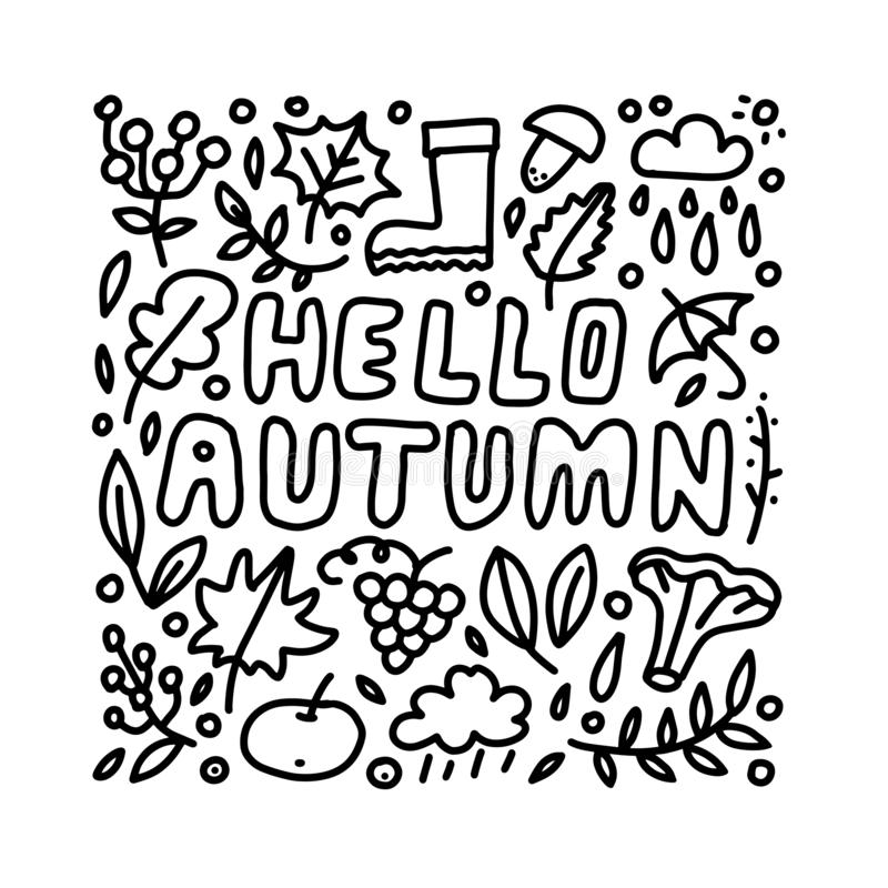 Hello Autumn hand drawn lettering card with doodle leaves, berries and mushroomes. Inspirational autumn quote royalty free illustration