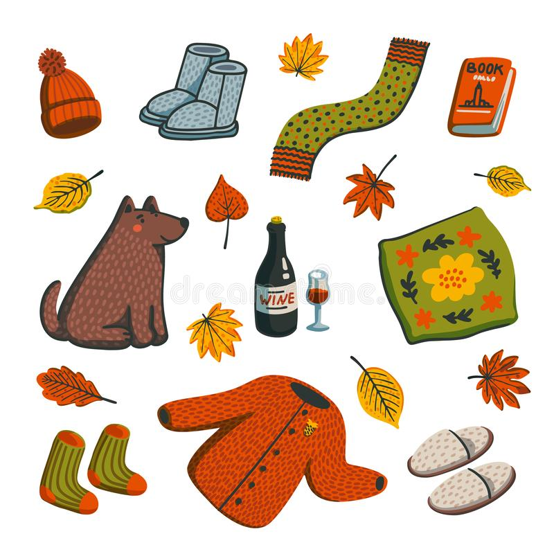 Hello autumn icons. Autumn essentials warm clothes, leaves, book, all for warm atmosphere. Fall season elements on white royalty free illustration